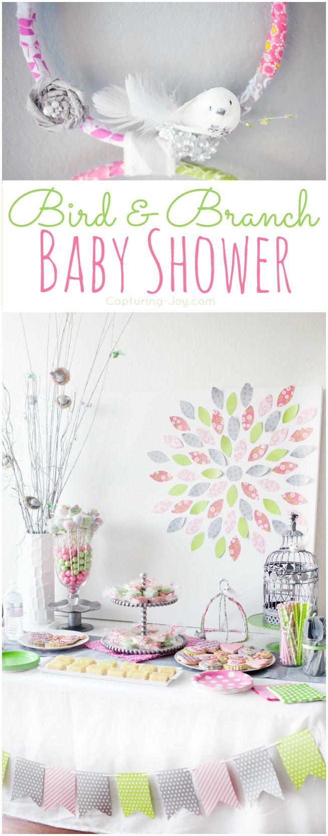 Pink and green baby shower for girls