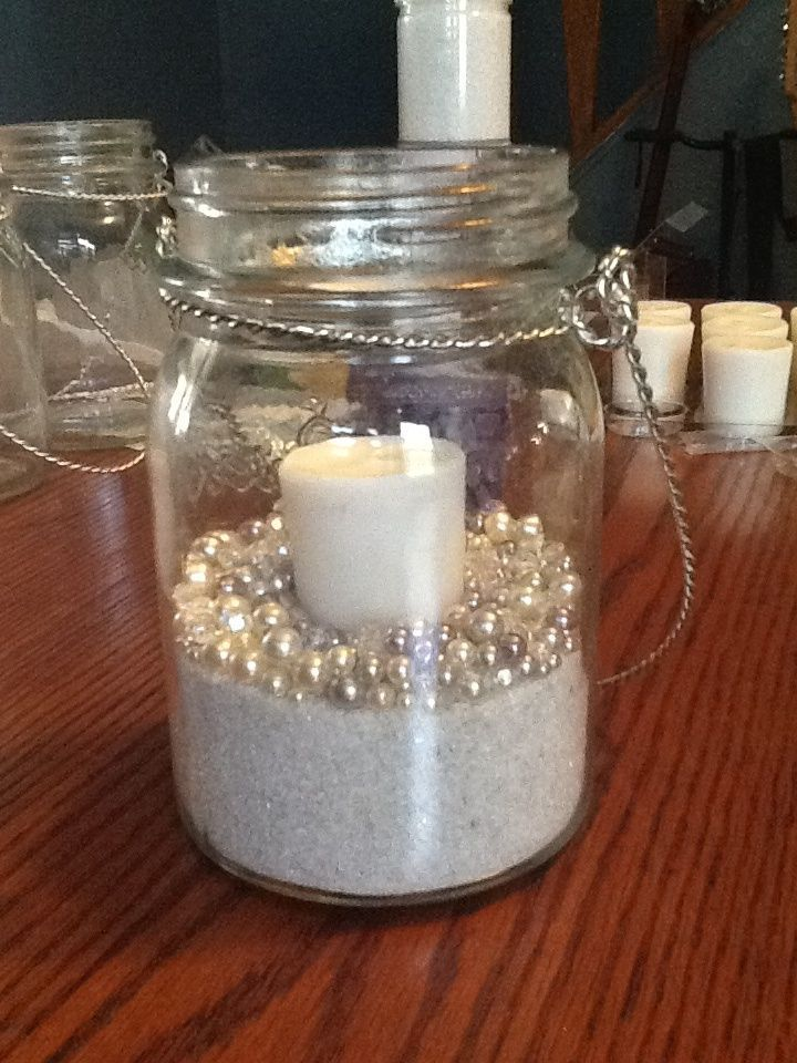 Wedding diy mason jars candle sand and pearls can for Diy candle jar decorations