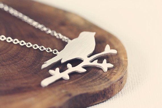Bird - branch - woodland - forest - necklace  - sterling silver - etsymetal team - handmade via Etsy