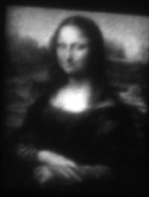 """Una reproducción de la """"Mona Lisa"""" que sólo se puede ver con el microscopio electrónico."""