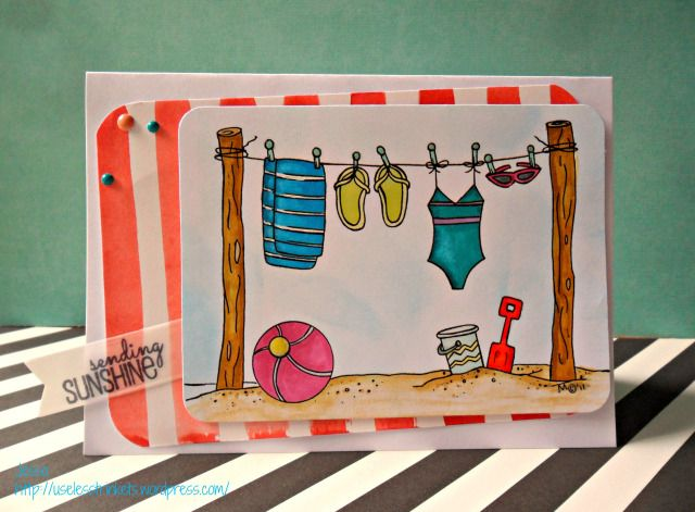 Creative Knockouts Challenge ##97 - The Stamping Boutique - Summer Fun card Create a Smile Sending Sunshine kit