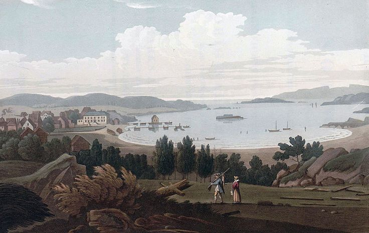 """Ferry at Helgeraae (JW Edy plate 40). English: """"Ferry at Helgeraae"""" Norsk bokmål: «Færgen ved Helgeraae» Drawing by John William Edy (1760-1820) from his journey along the coast of Norway during the summer of 1800. Published in Boydell's picturesque scenery of Norway in 1820."""