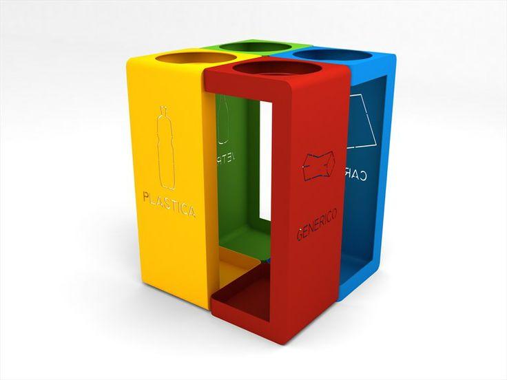 Poubelle d'extérieur en acier de tri sélectif GIBILLERO by CITYSI | design Gibillero