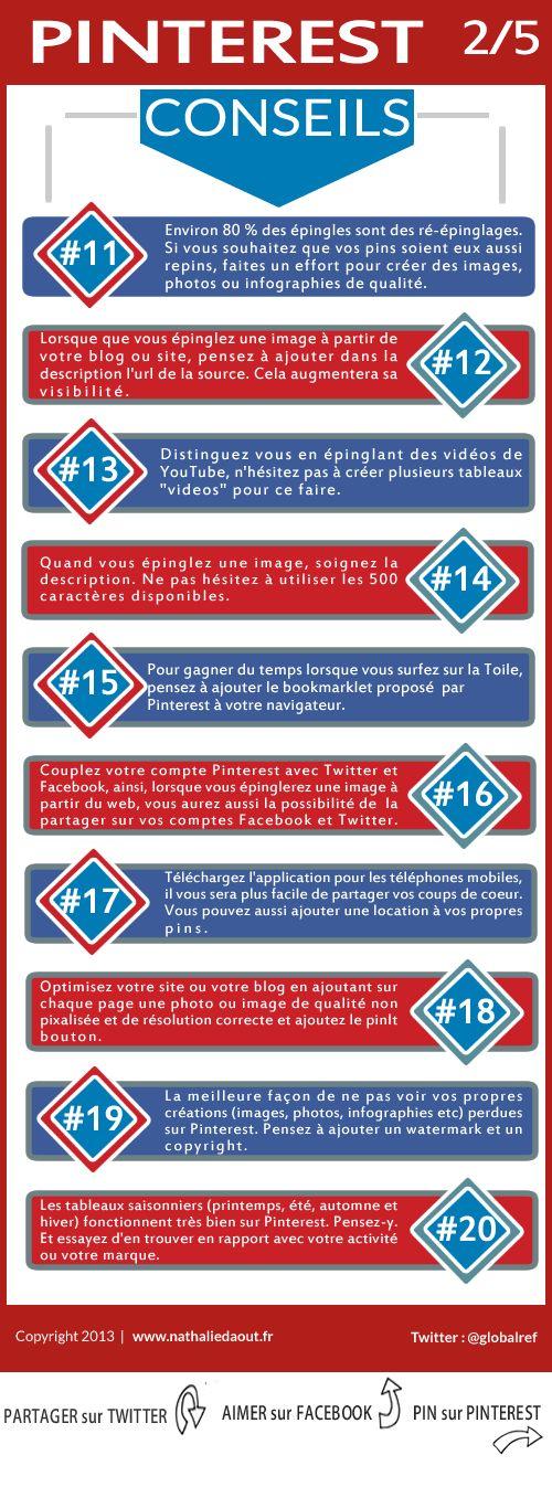 La suite des tips et conseils pour pinterest : http://www.nathaliedaout.fr/10-conseils-bien-debuter-pinterest-25/ #pinterest #infographic Atelier Pinterest #FCS13 www.festivalcommunicationsante.fr