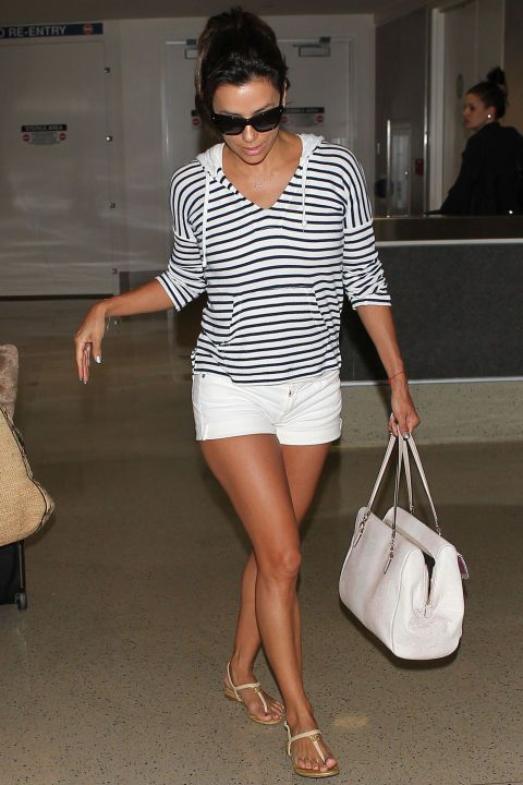 The new celebrity airport style staple? Short shorts. See how 24 stars, including Eva Longoria, styled them while traveling.