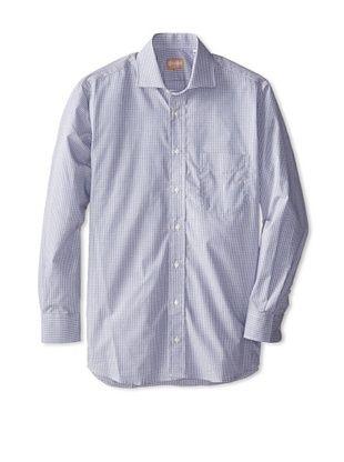 60% OFF Gitman Blue Men's Mini Check Long Sleeve Dress Shirt (Navy blue)