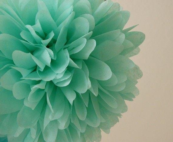 Cool Mint Tissue Pom Pom .. Wedding / Birthday / Baby Shower / Baptism / Party Decoration / DIY. $4,00, via Etsy.