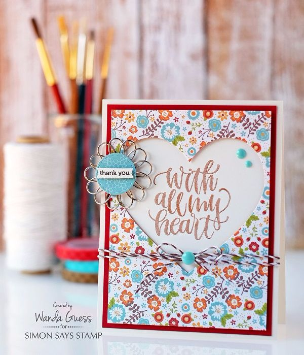 Simon Says Stamp November Card Kit, Thankful Heart! Project by Wanda Guess.