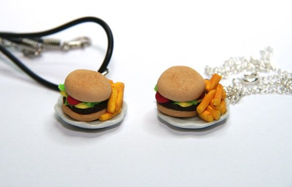 Food jewellery, miniature, burger fries, McDonalds, chips, junk food, cheese burger, gift for him, gift for her, fast food necklace,