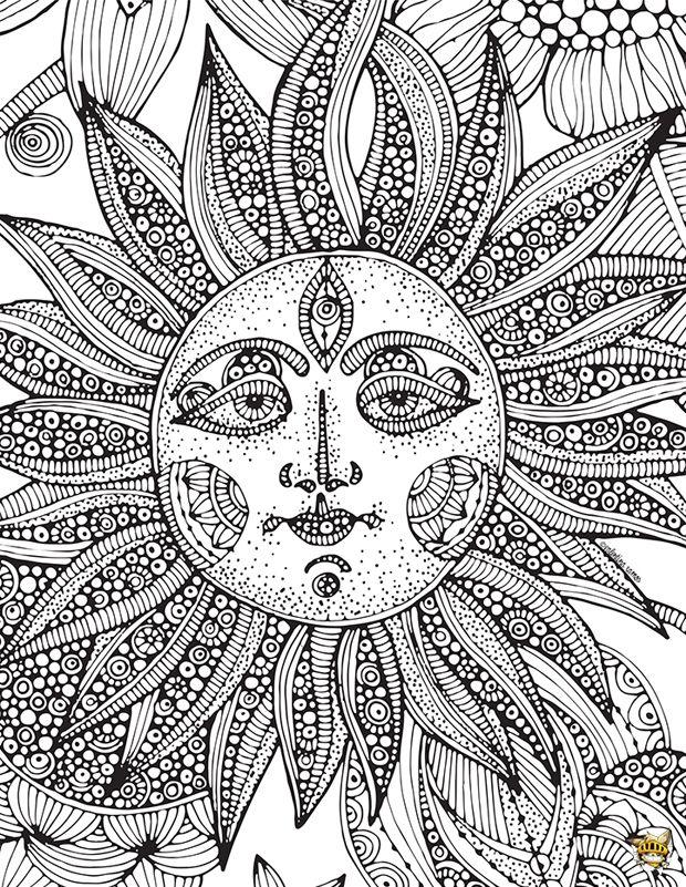 Les 25 meilleures id es de la cat gorie coloriage soleil - Coloriage zen a imprimer ...