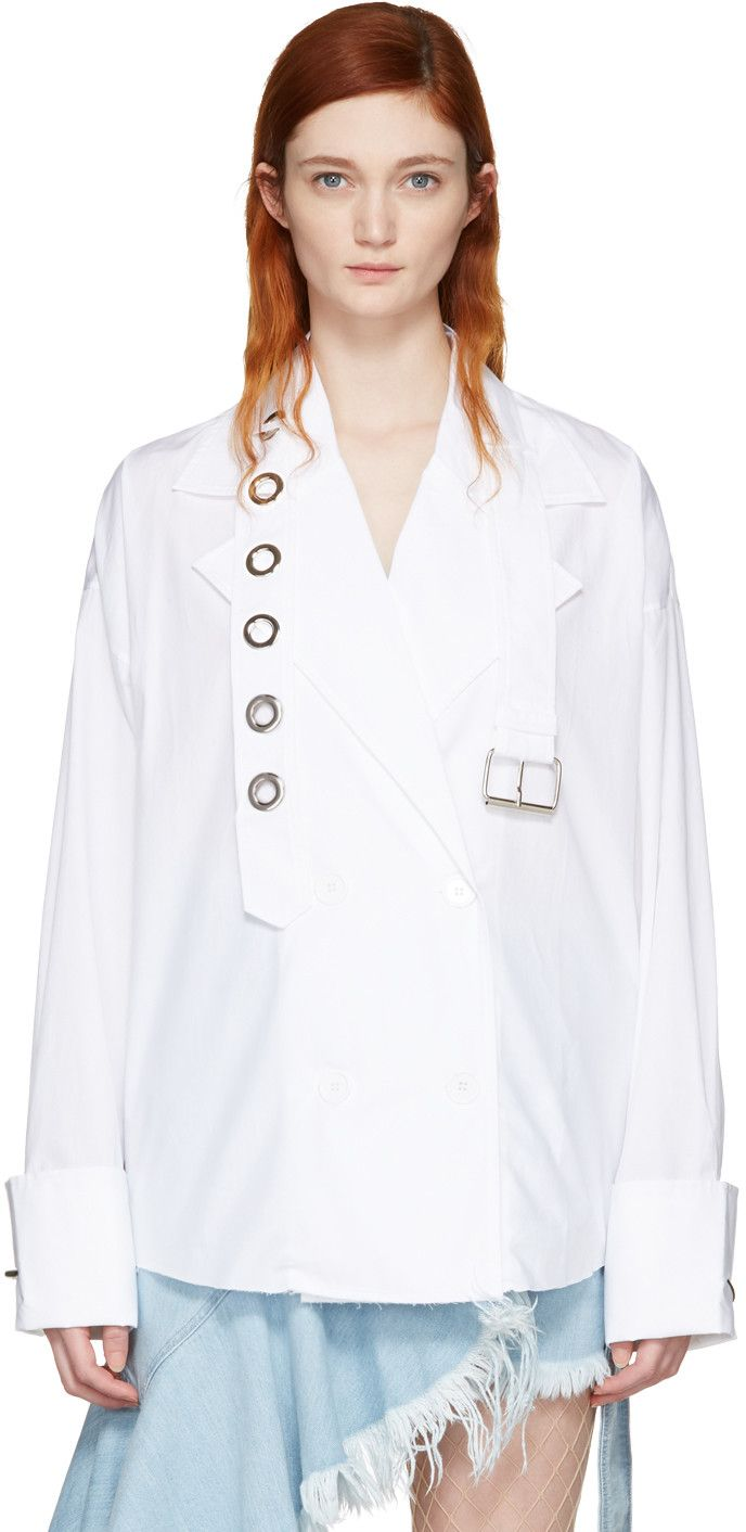MARQUES' ALMEIDA White Trench Coat Shirt. #marquesalmeida #cloth #shirt