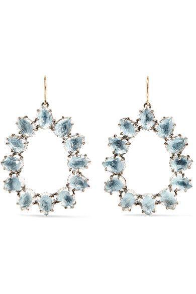 Larkspur & Hawk - Caterina Small Rhodium-dipped Quartz Earrings - Light blue - one size