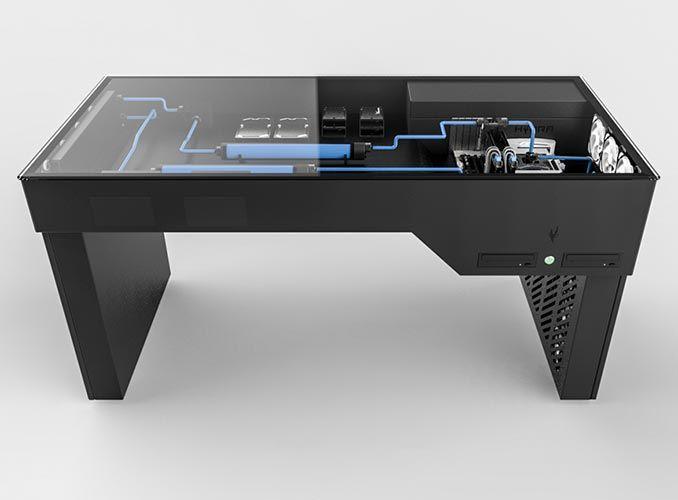 Hydra Desk Computer Case Desk In 2020 Custom Computer Desk Built In Computer Desk Computer Desk