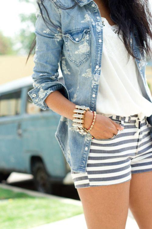 true blueFashion, Summeroutfit, Summer Outfit, Style, Jeans Jackets, Denim Shirts, Denim Shorts, Summer Clothing, Stripes Shorts