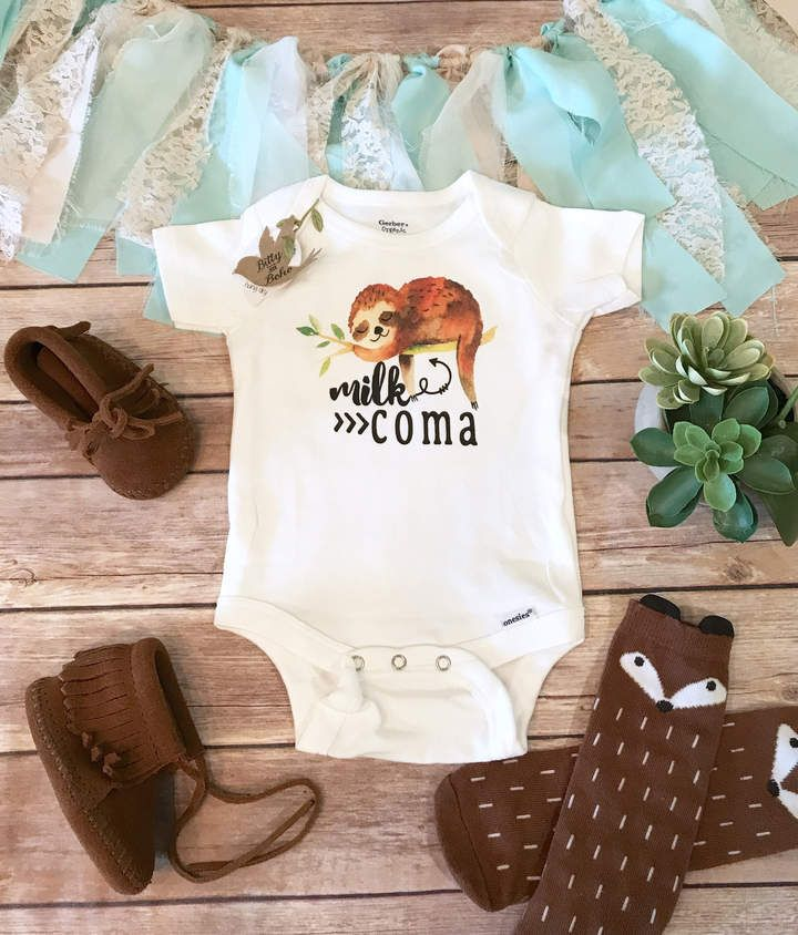 Etsy Milk Coma Sloth Onesie®, Funny Baby Onesies, Hipster Baby Clothes, Funny Baby Shower Gift, Breastfeed #affiliate