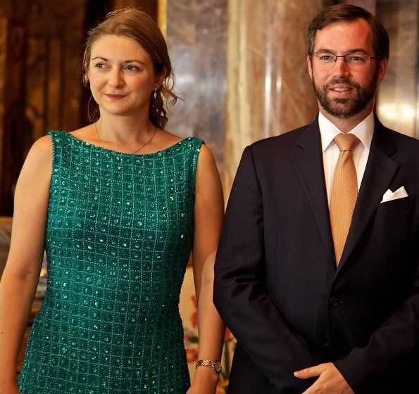 On June 27, 2017, Grand Duke Henri and Duchess Maria Teresa, Hereditary Grand Duke Guillaume and Hereditary Grand Duchess Stéphanie of Luxembourg hosted a garden party at Berg Castle (Schlass Bierg) in Luxembourg.