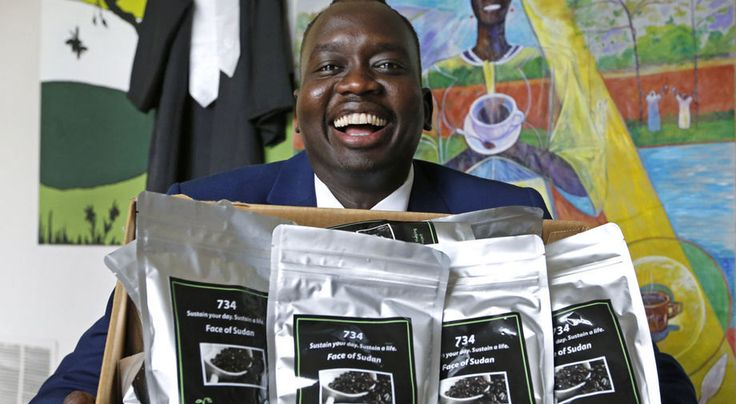 "Manyang Reath Kher, one of the ""Lost Boys"" of Sudan who is now a Henrico County resident, has launched a campaign to help Sudanese refugees by selling African coffee in"