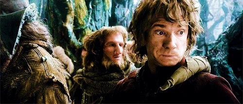 Bilbo and his face wiggle. Is it just me, or did he look straight at the camera at the end of this gif?