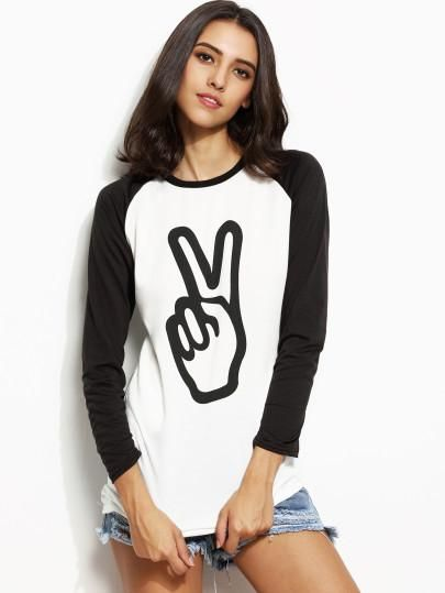 peace sign black and white shirt, three quarter sleeve chill shirt, trendy peace top - Lyfie