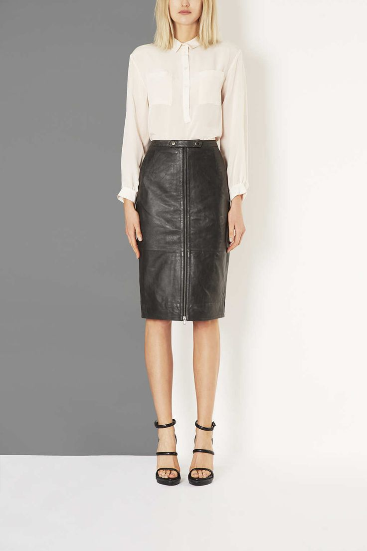 Leather Zip Pencil Skirt by Boutique - Skirts - Clothing - Topshop