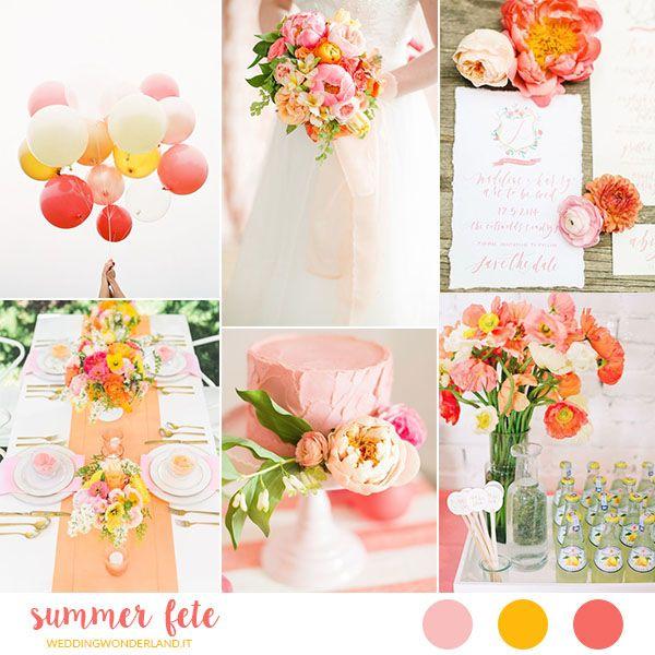 Idee e ispirazioni per un matrimonio estivo e festoso in rosa, corallo, giallo e arancione, tra splendidi fiori e palloncini.