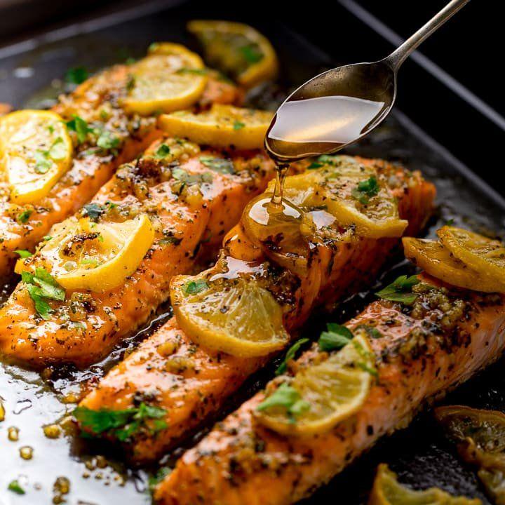 Honey garlic butter baked salmon baked salmon baked