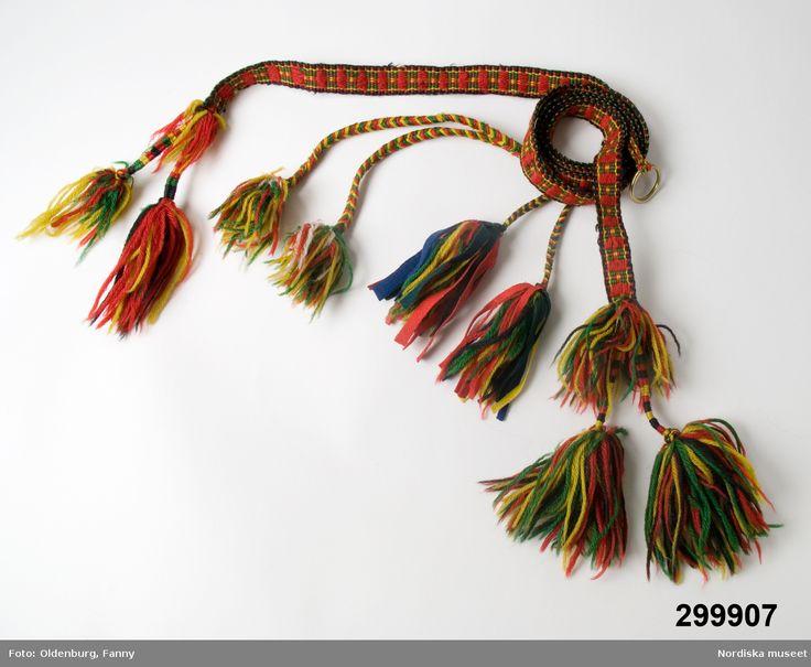 Samiskt bälte, tillverkad före 1900-talet, Gällivare, Lule lappmark. Saami belt from Gällivare made before 1900.