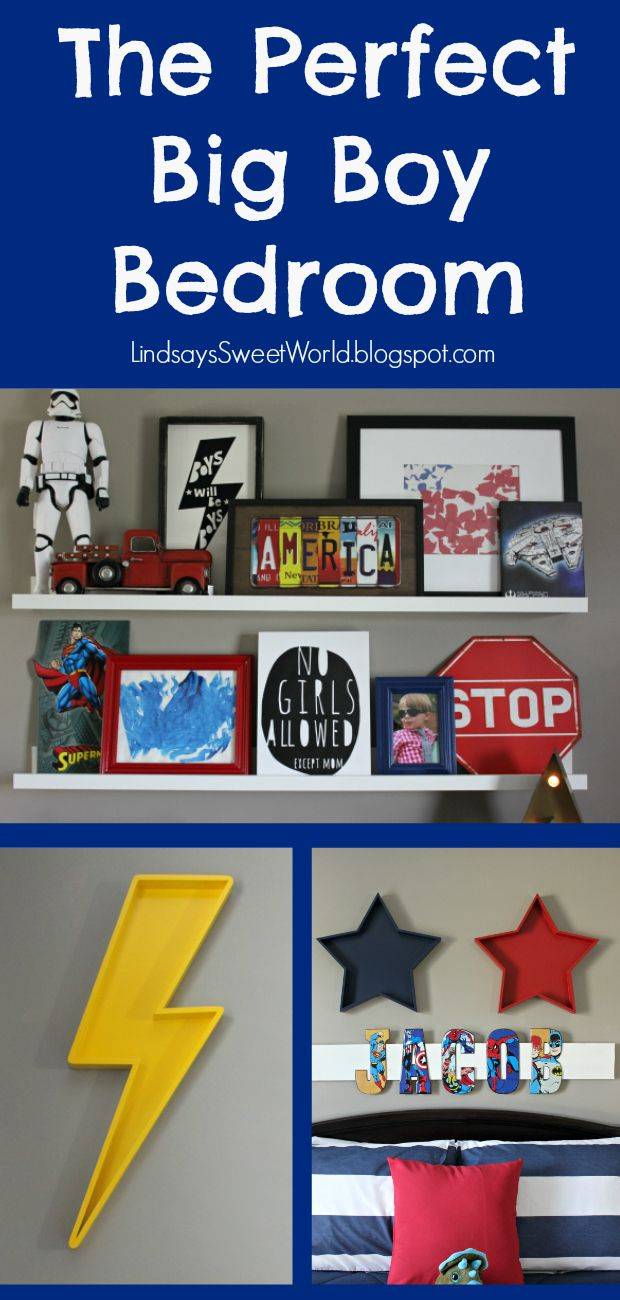 The perfect big boy bedroom - cars, trucks, superheroes, and Star Wars... all done tastefully!  Click to see the tour.