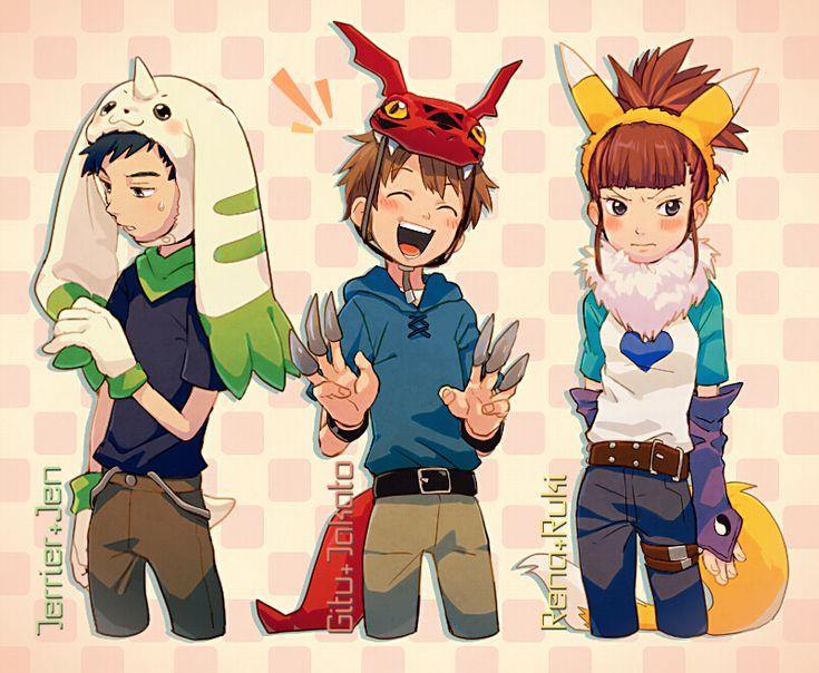 Tags: Fanart, Digimon, Pixiv, Li Jianliang, Digimon Tamers, Makino Ruki, Matsuda Takato, Fanart From Pixiv, TKG