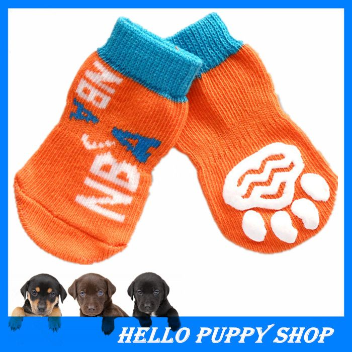 2015 Hot Sale Socks for Dogs 100% Cotton Dog Footprints Pet Shoes with Bottom Non-slippery Warm Sock 4 Pcs Free Shipping