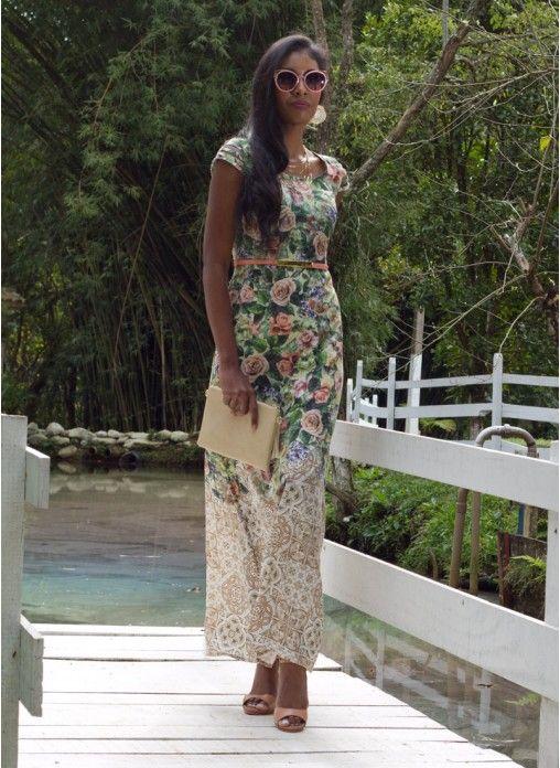 Vestido longo estampado com rosas *Catálogo