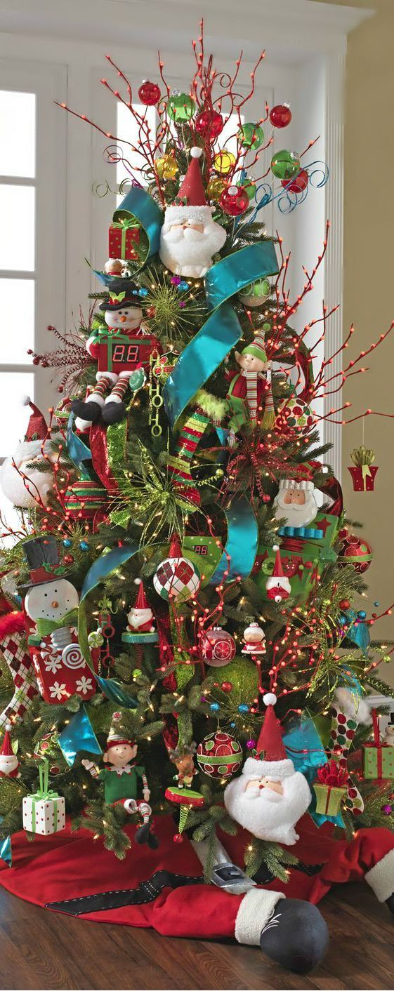 Ideas Para Decorar Tu Pino Navideno 2016 2017 16. Colorful Christmas TreeThemed  Christmas TreesDecorated ...