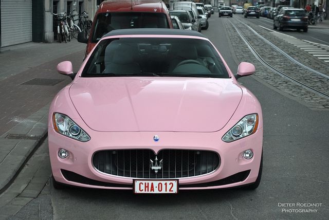 Pink Maserati lol I guess you can paint your car whatever colour you want when you have this kind of money