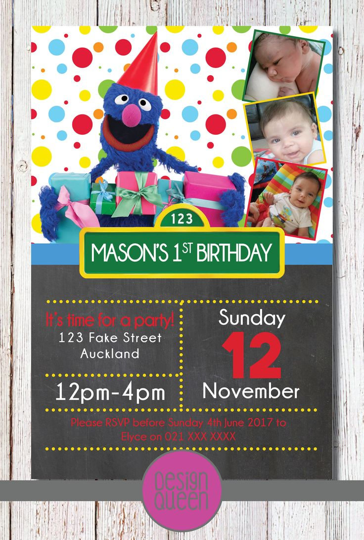 Sesame Street Kids Invitation - YOU PRINT custom Sesame Street Grover party invite by QueenOfAdmin on Etsy
