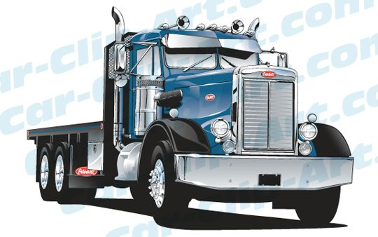 When you think of 'classic muscle', usually a Camaro or Mustang comes to mind – but this 1968 Peterbilt should be classified in there as well! Here's a vector version of a beautifully restored 'rig. This Peterbilt truck clip art can be used for t-shirts, a company logo, business cards, or ev