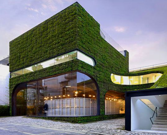 Architects Minsuk Cho and Kisu Park of Mass Studies designed this flora-clad multi-level building to house Belgian fashion designer Ann Demeulemeester's store in Seoul, South Korea.     Read more: Foliage Covered Botanical Building by Mass Studies | Inhabitat - Sustainable Design Innovation, Eco Architecture, Green Building