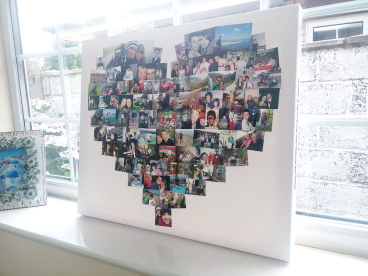 A heart shaped photo collage made form approximately 85 photos, carefully arranged one at a time to create a perfect Heart shaped design.
