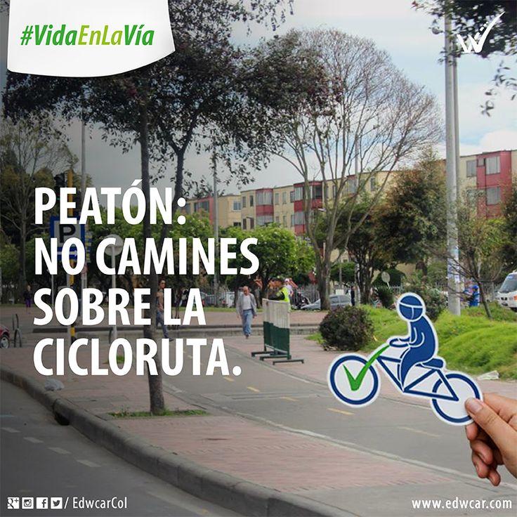 Peatón: no camines sobre la cicloruta. Bogotá. Bicicleta Cultura vial Seguridad vial Educación vial Vida en la vía