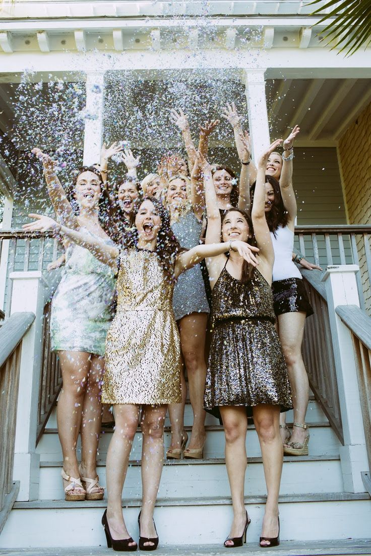 A glitter throwing photo is a perfect shot to take during your bridal shower or bachelorette party.
