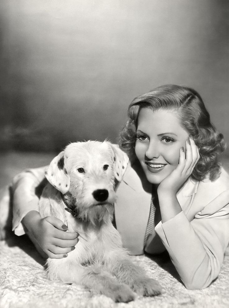 vintage dog pictures | Jean Arthur and pup in 1939 's Smith Goes to Washington .