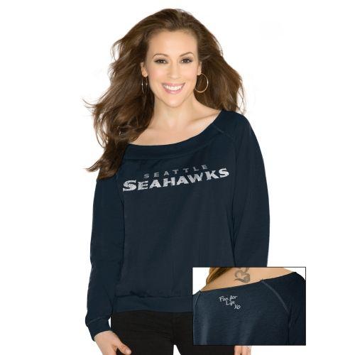 Touch by Alyssa Milano Seattle Seahawks Ladies Draft Choice Sweatshirt - College Navy