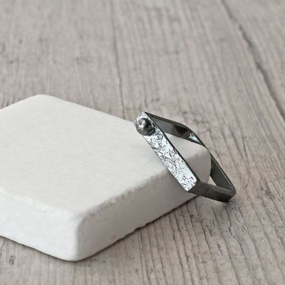 Square Ring Sterling Silver Black Oxidized Ring by SunSanJewelry