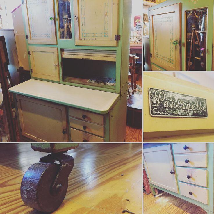 Kitchen Cousins Kitchen Pictures: Great Vintage Hoosier Cabinet! Green Tu-Tone Pantryette Enamel Top