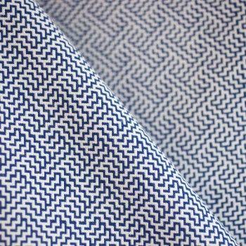 Tissu Jacquard ZigZag en folie bleu & blanc x 10cm