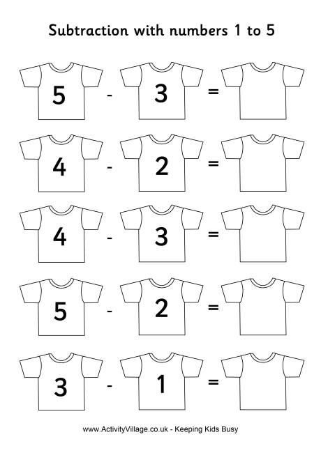 Football shirts subtraction 1 to 5