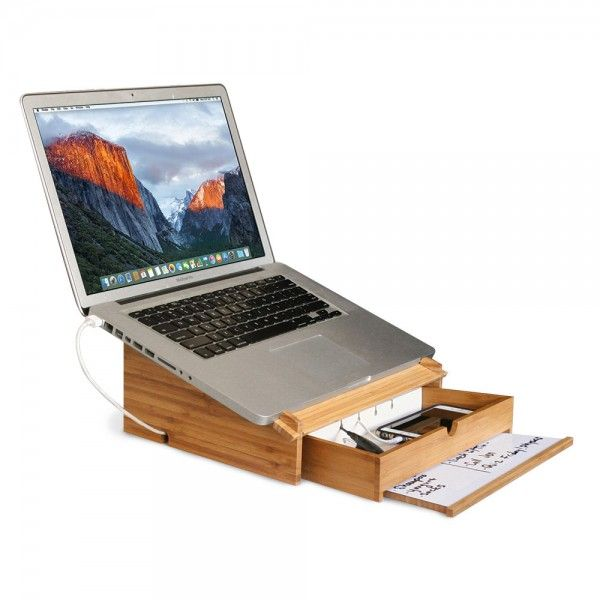 Bamboo Laptop Stand And Organizer With Dry Erase Board Charging Stations Tech Shop Laptop Stand Wooden Laptop Stand Laptop Desk