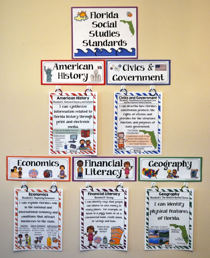 4th Grade Florida Social Studies Standards - I Can Statements - Full Page Size - Mini Size