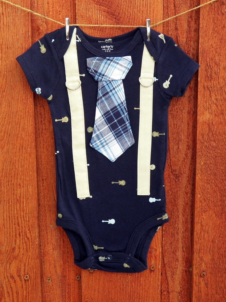 Baby Boy Tie Onesie with Suspenders - Rocker, Guitar - Baby shower gift, New Born, Photo Prop. $19.00, via Etsy.