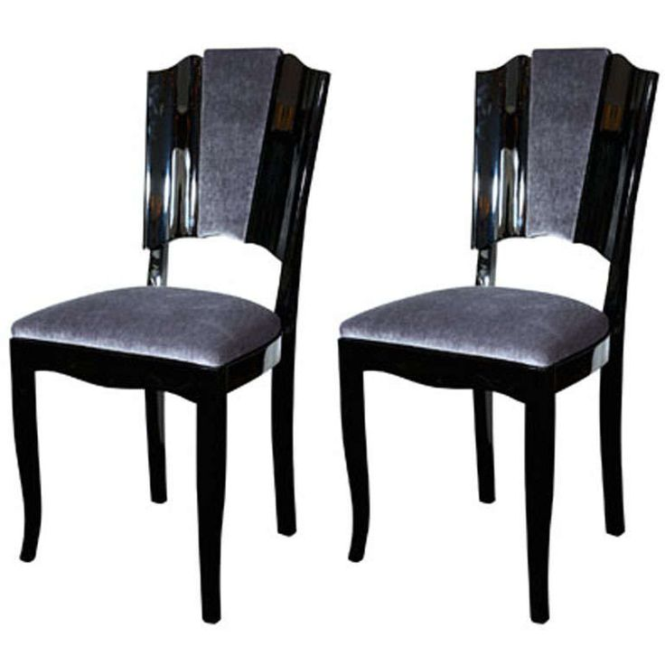 Pair Of Art Deco Dining Chairs With Directoire Style Backs