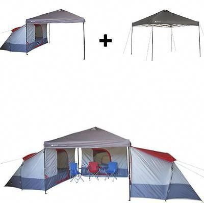 Camping Tent 4 Person BUNDLE Canopy Shelter Awning Hiking Outdoor ...